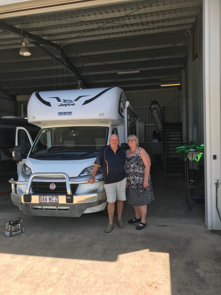 Judy & Darryl 2015 and their Preloved Jayco Conquest motorhome.
