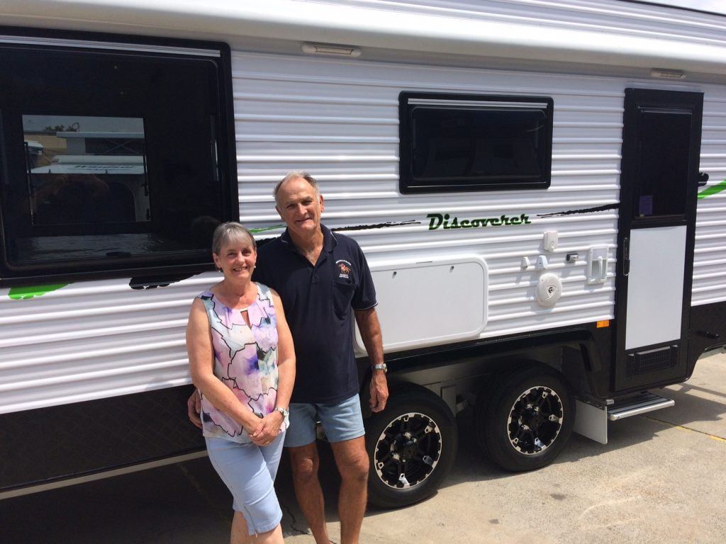 Mr & Mrs Mcquillan getting ready for adventure in their Regent Discoverer.
