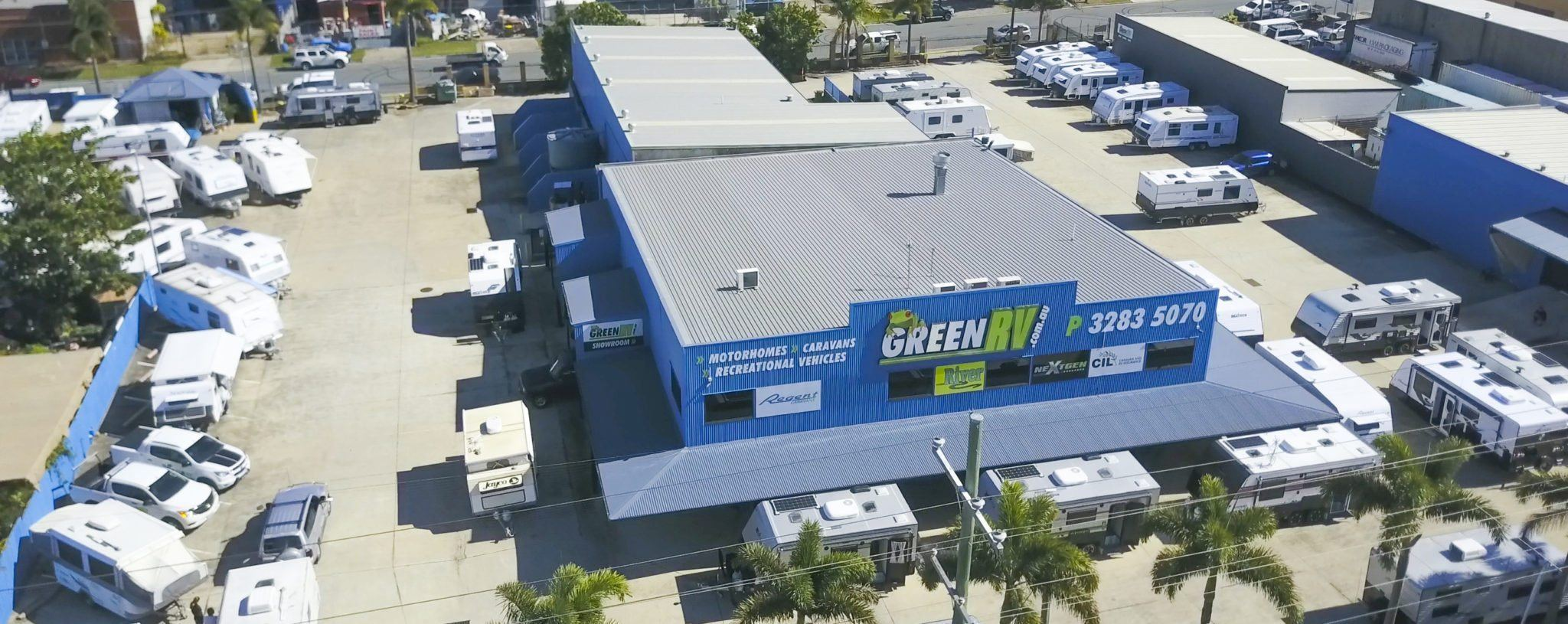 Green RV office aerial view